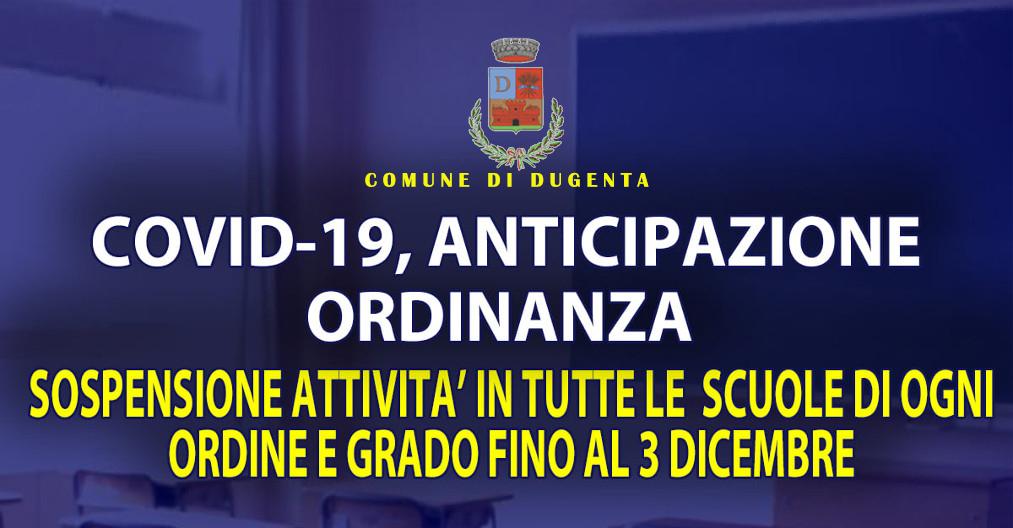 AVVISO CHIUSURA SCUOLE FINO AL 03/12/2020