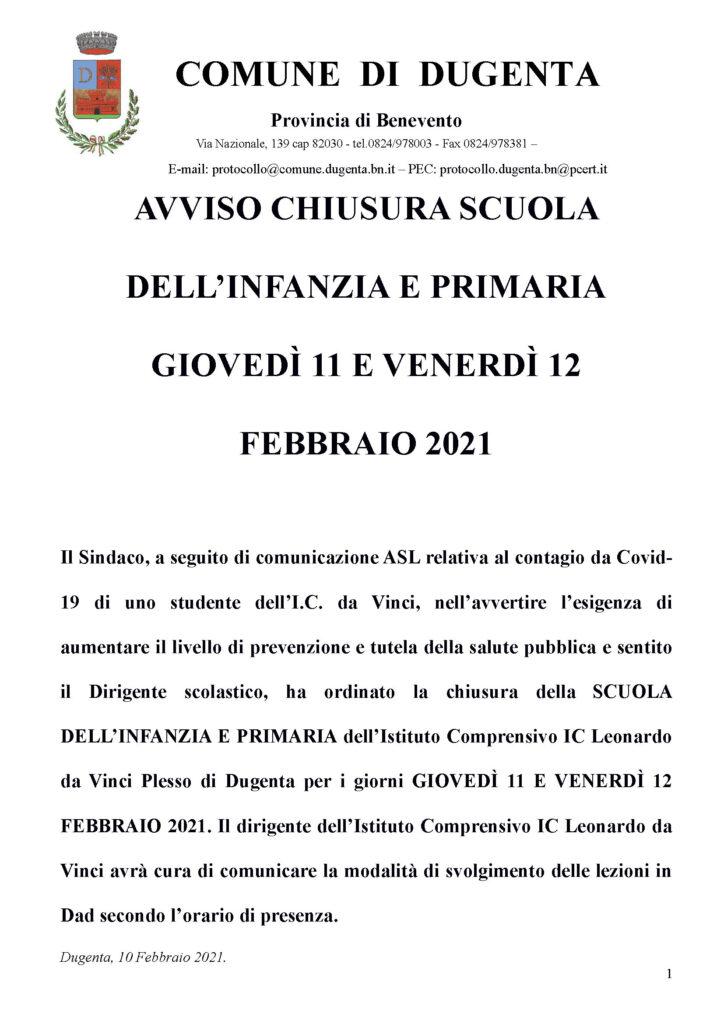 AVVISO CHIUSURA SCUOLA DELL'INFANZIA E PRIMARIA GIOVEDÌ 11 E VENERDÌ 12 FEBBRAIO 2021