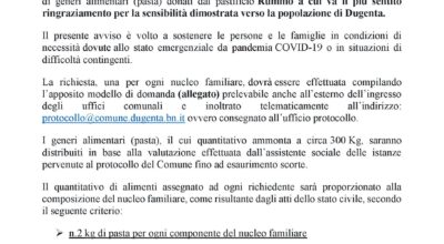 AVVISO PUBBLICO PER LA FORNITURA DI GENERI ALIMENTARI DONATI DAL PASTIFICIO RUMMO
